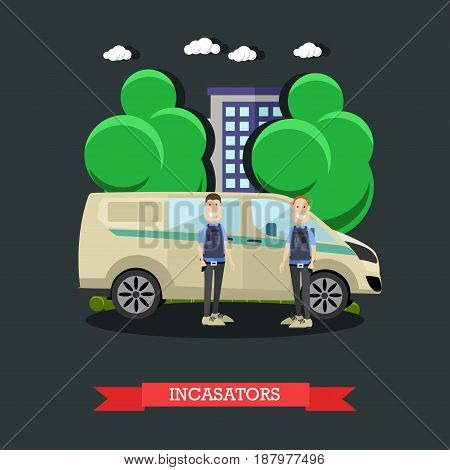Vector illustration of collectors standing next to armored bank car. Transportation of valuables, collection services concept design element in flat style.