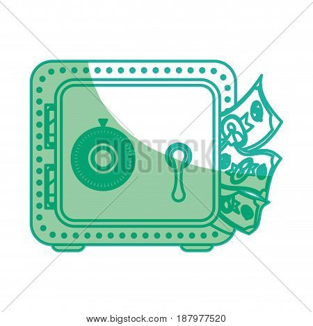 silhouette metal strong box with bills in the door, vector illustration