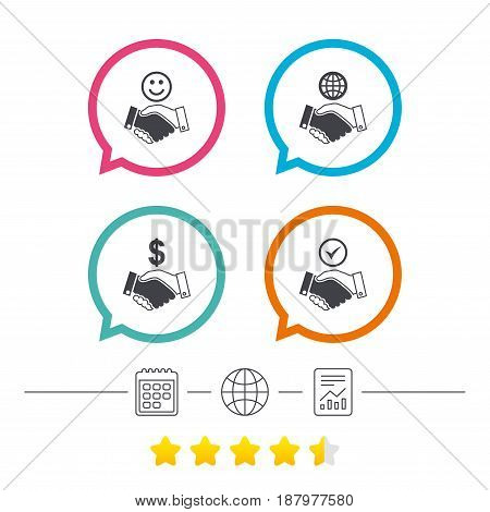 Handshake icons. World, Smile happy face and house building symbol. Dollar cash money. Amicable agreement. Calendar, internet globe and report linear icons. Star vote ranking. Vector