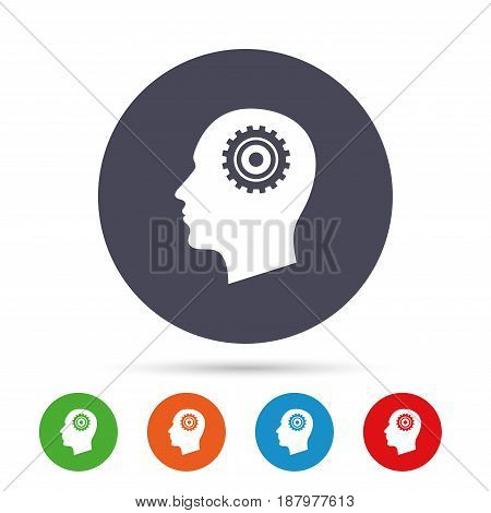Head with gear sign icon. Male human head symbol. Round colourful buttons with flat icons. Vector