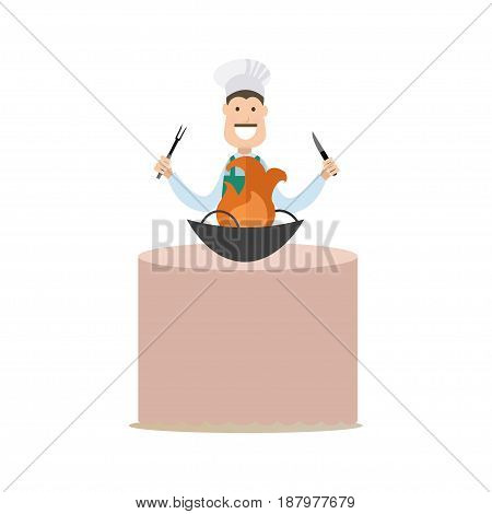 Vector illustration of cook holding kitchen knife and fork ready to cut and serve dish with fire. Cook people concept flat style design element, icon isolated on white background.