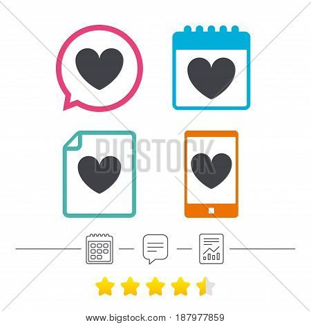 Heart sign icon. Love symbol. Calendar, chat speech bubble and report linear icons. Star vote ranking. Vector