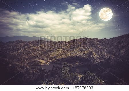 Landscape Of Blue Dark Night Sky With Many Stars And Cloudy.