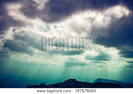 Landscape Of Beautiful Sky With Cloudy And Sunbeam. Cross Process.