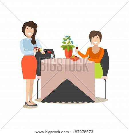 Restaurant guest vector illustration. Visitor female with wineglass sitting at table and waitress filling wine glass flat style design elements isolated on white background.