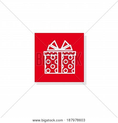 Vector illustration.Isolated object.Icon. Gift box with a bow. Dotted