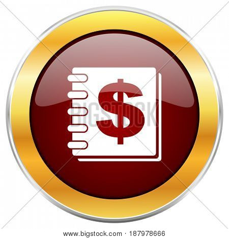 Money red web icon with golden border isolated on white background. Round glossy button.