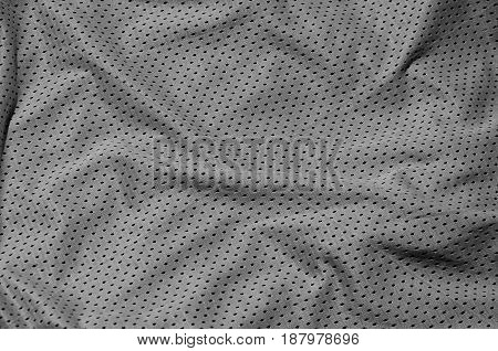 Sport Clothing Fabric Texture Background, Top View Of Grey Cloth Textile Surface