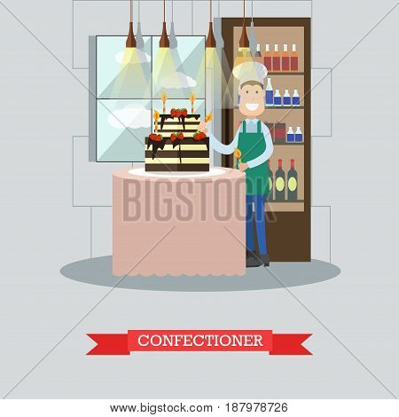 Vector illustration of confectioner decorating big chocolate and fruit cake with two tiers. Restaurant kitchen, bakery or candy store interior, flat style design elements.