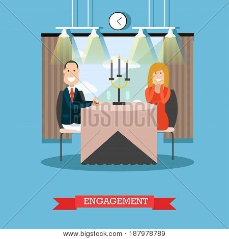 Vector illustration of happy loving couple having dinner at restaurant. Man making proposal to lady and presenting engagement ring. Engagement concept flat style design element.