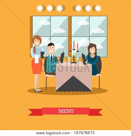Restaurant guests vector illustration. Visitors man and woman sitting at table decorated with candles and wineglasses and reading menu. Waitress taking order. Table for two. Flat style design.