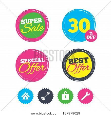 Super sale and best offer stickers. Home key icon. Wrench service tool symbol. Locker sign. Main page web navigation. Shopping labels. Vector