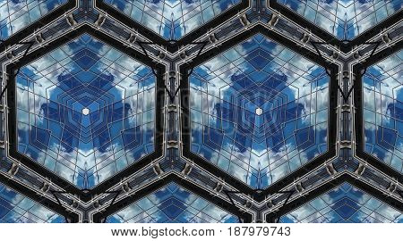 Clouds In Reflection. Abstract Photo Honeycomb Pattern.