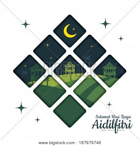 Hari Raya Aidilfitri greetings card template with crescent moon and malay wooden houses in flat design. (translation: Fasting Day of Celebration, I seek forgiveness, physically and spiritually)