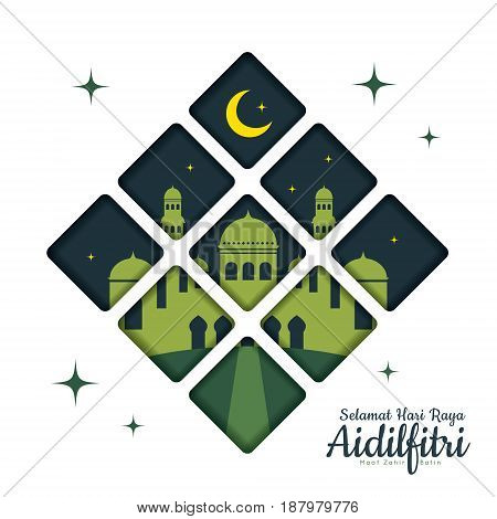 Hari Raya Aidilfitri greetings card template with crescent moon and mosque in flat design. (translation: Fasting Day of Celebration, I seek forgiveness, physically and spiritually)