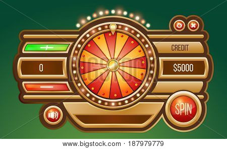 Vector cartoon illustration of a glowing wheel fortune or luck, isolated on a light background