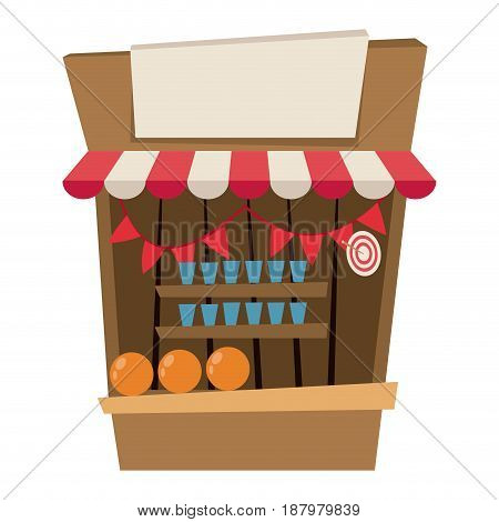 circus booth shooting with targets game pennant vector illustration