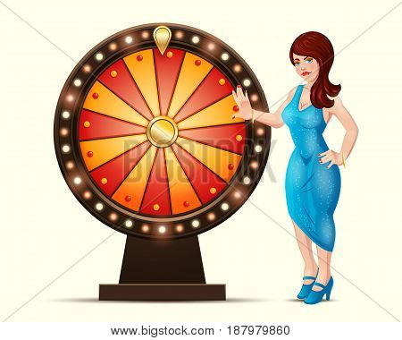 Vector cartoon illustration of a lucky woman turns glowing wheel fortune or luck, isolated on a light background