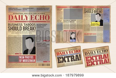 Vector illustration of an old daily newspaper template, retro tabloid, layout posting reportage