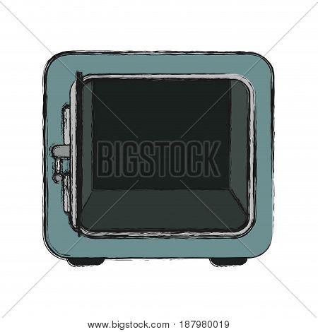 silver metal strong box open, vector illustration
