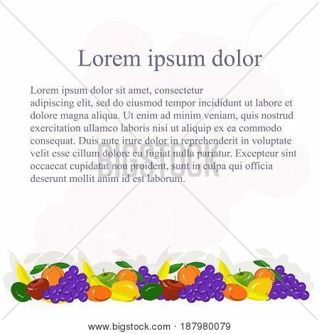 Background with painting colorful fruits bellow, Lorem ipsum stock vector illustration