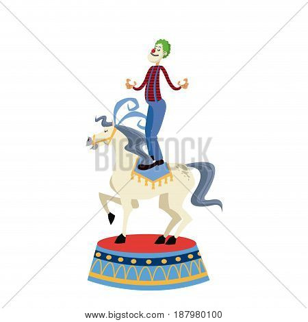 acrobat clown on circus horse. entertainment carnival image vector illustration