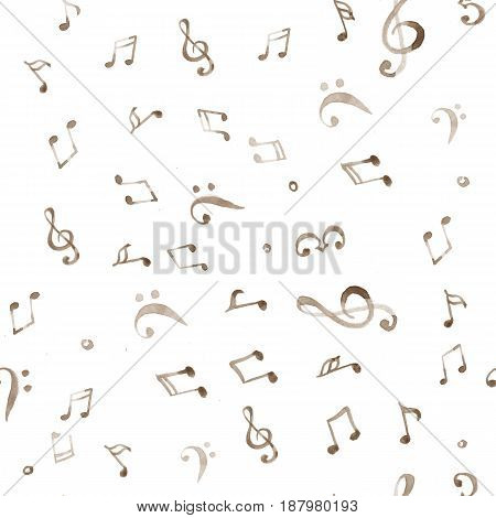 Watercolor splash music pattern on white background