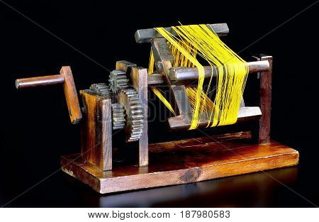 Antique Japanese Zakuri silk reel made in the Edo Period around 1840.