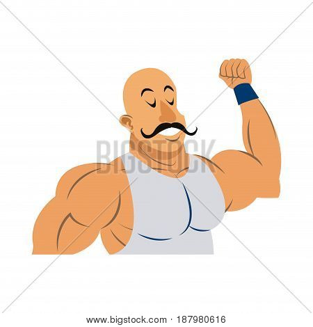 strong man circus character muscle bald with moustache vector illustration