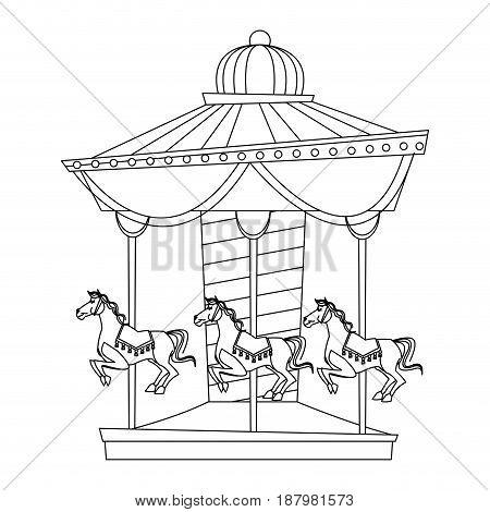 funfair circus carousel horse canival vector illustration
