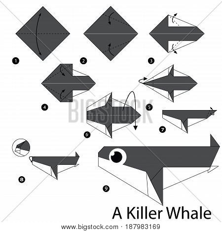 step by step instructions how to make origami A Killer whale.