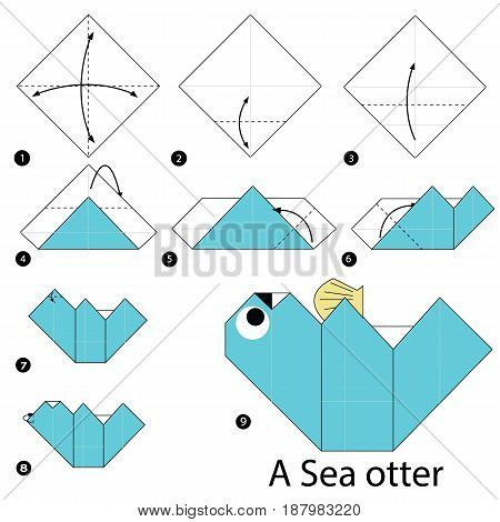 step by step instructions how to make origami A Sea Otter.