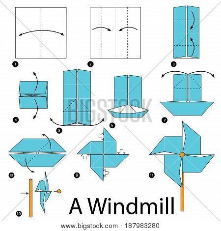step by step instructions how to make origami A Windmill.