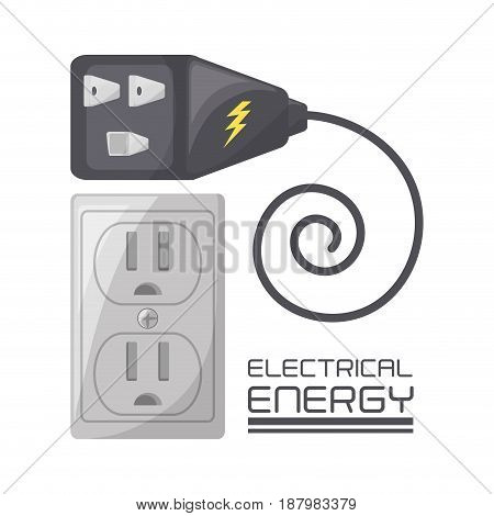 colorful flat connecter and plug concept, vector illustration