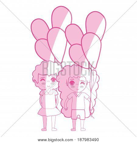 silhouette tender pretty girls with balloons and casual wear, vector illustration