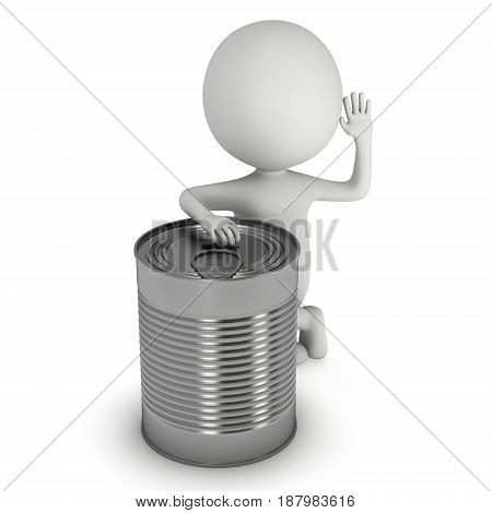 Man stands near aluminum can. 3D render of metal canned food isolated on white.