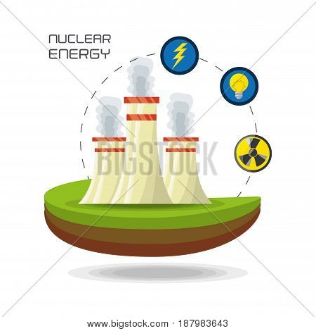 flat concept nuclear plant generator energy, vector illustration