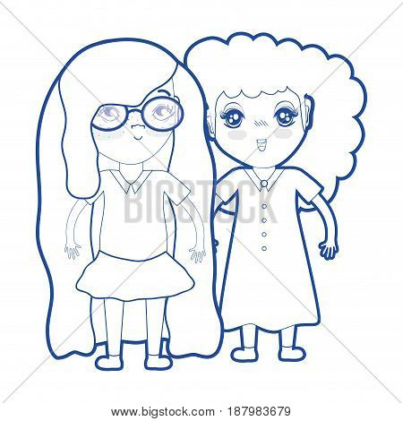 silhouette cute pretty girls with hairstyle and casual wear, vector illustration