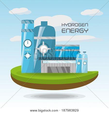 landscape related with hidrogen energy, vector illustration