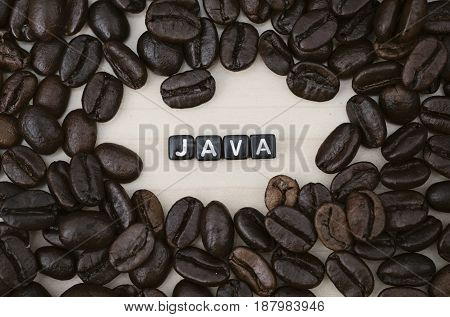 JAVA, by alphabet beads and coffee beans