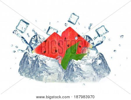 Watermelon splash and ice cubes isolated an white background
