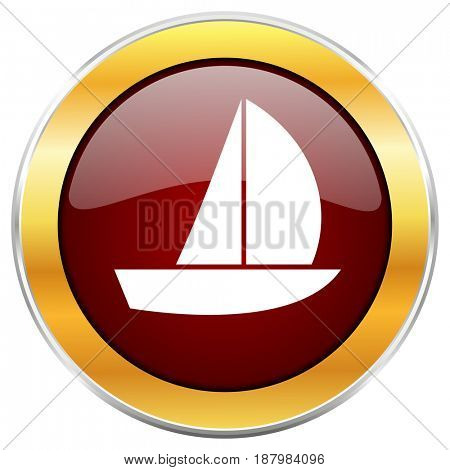 Yacht red web icon with golden border isolated on white background. Round glossy button.