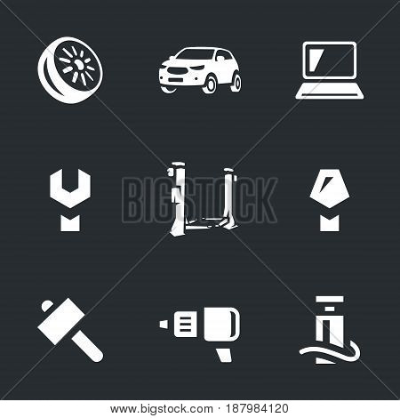 Wheel, car, computer, key, lifting stand, screwdriver, hammer, drill, pump.