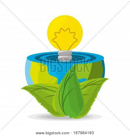 planet use alternative energy for save the world, vector illustration