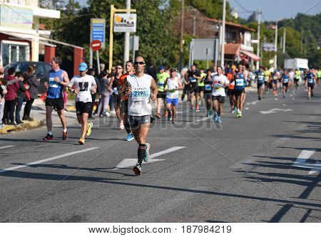 ATHENSGREECE - NOV 8: 33nd Athens Classic Marathon.Over 45000 athletes from dozens of countries took part in the classic authentic marathon November 8 2015 in Marathon City AthensGreece