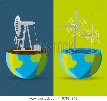 flat landscape releated with windpower and fossil energy over planet, vector illustration