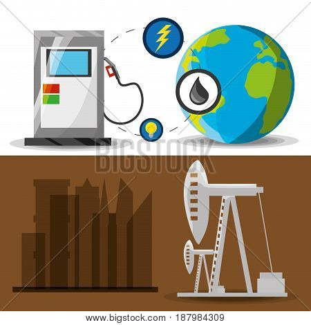 flat landscape releated gasoline and fossil energy, vector illustration
