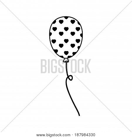 balloon with heart shapes icon over white background. vector illustration