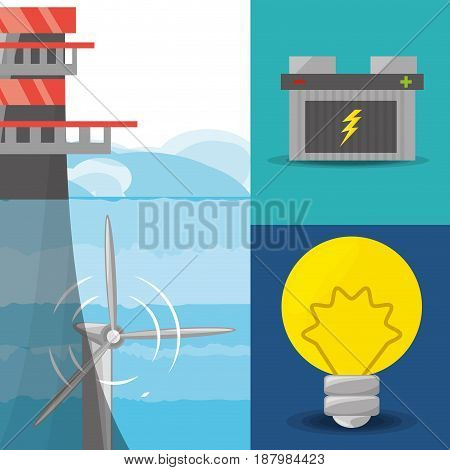 landscape related with tidal energy, batery and bulb icon, vector illustration