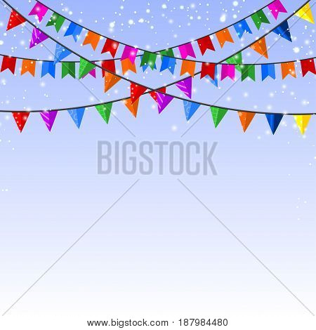 Winter blue background with a garland of paper flags. Vector illustration.